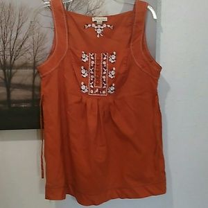 Embroidered Orange Tank Top